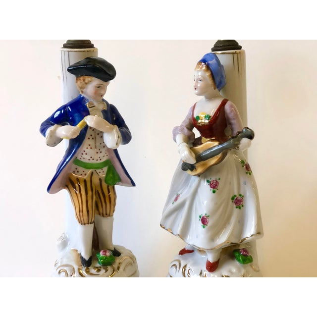 Ceramic Porcelain Lamps With Musician and Dancer Figurines - Set of 3 For Sale - Image 7 of 13
