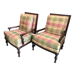 Vintage Country Style Plaid Chairs - a Pair