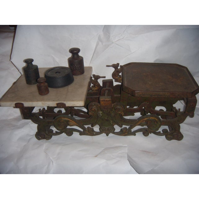 Victorian German Made Cast Iron & Marble Scale For Sale - Image 4 of 11