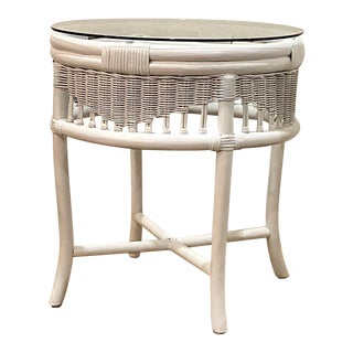 Vintage Mid-Century Ficks Reed Round White Wicker and Bamboo Side Table With Glass Top For Sale