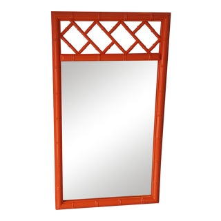 Vintage Faux Bamboo Orange Chinoiserie Chippendale Wall Mirror For Sale