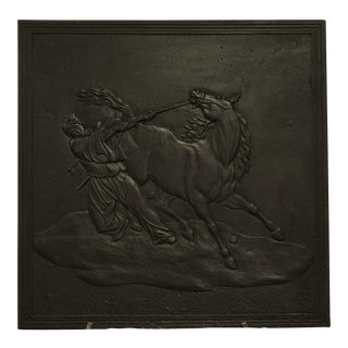 Fireback Displaying a Man Taming a Horse, 19th Century For Sale