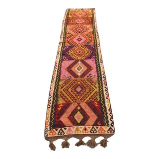 Vintage Colorful Kilim Runner - 2′5″ × 12′4″