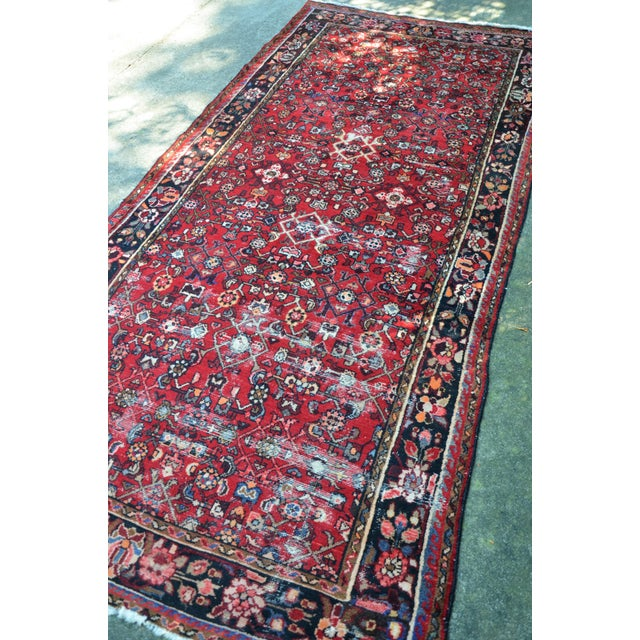 "Persian Distressed Floral Carpet - 9' 4"" X 4' 8"" For Sale - Image 10 of 12"