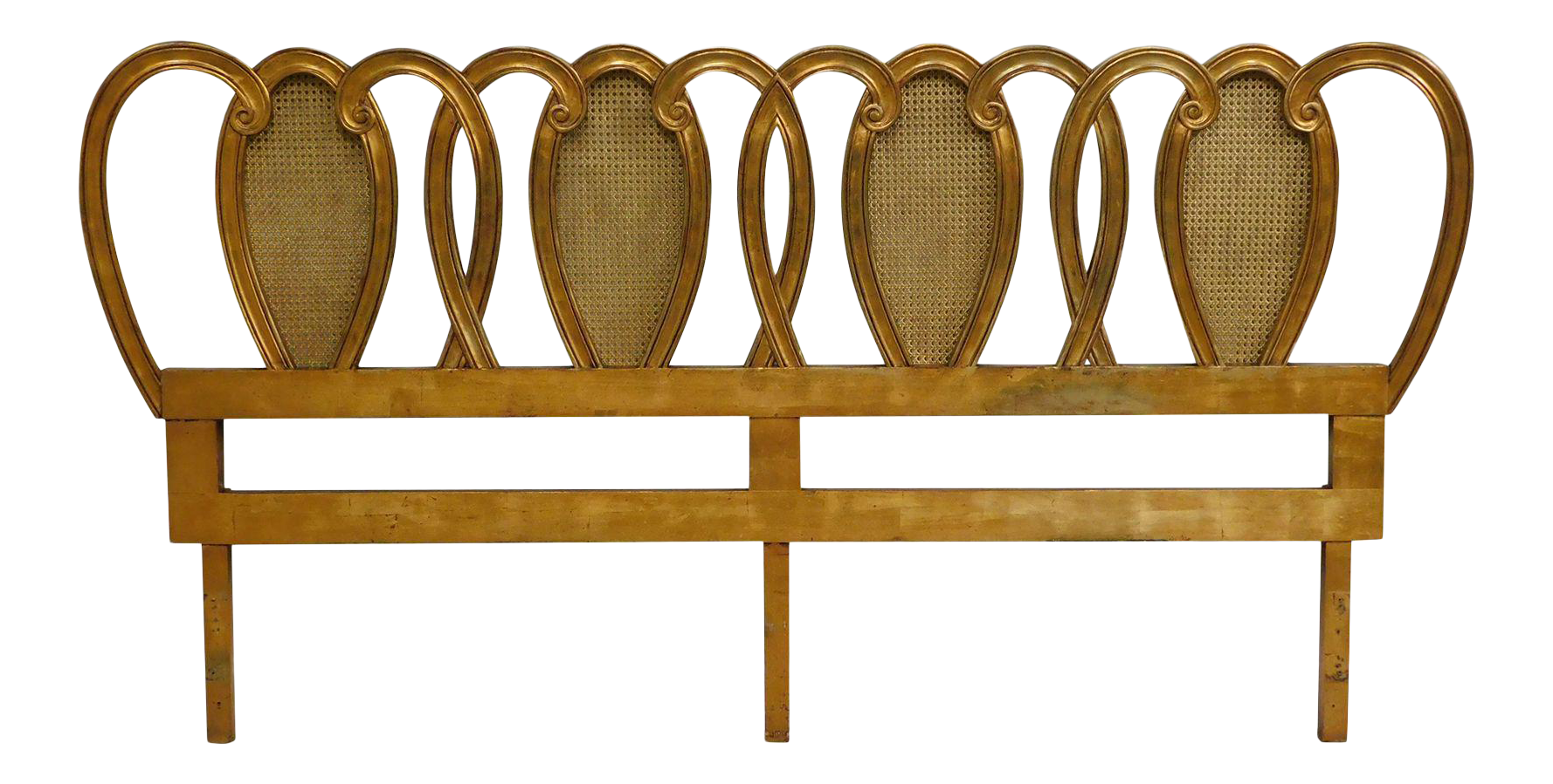 Hollywood Regency Vintage Gold Gilt Wood And Caned King Headboard Chairish