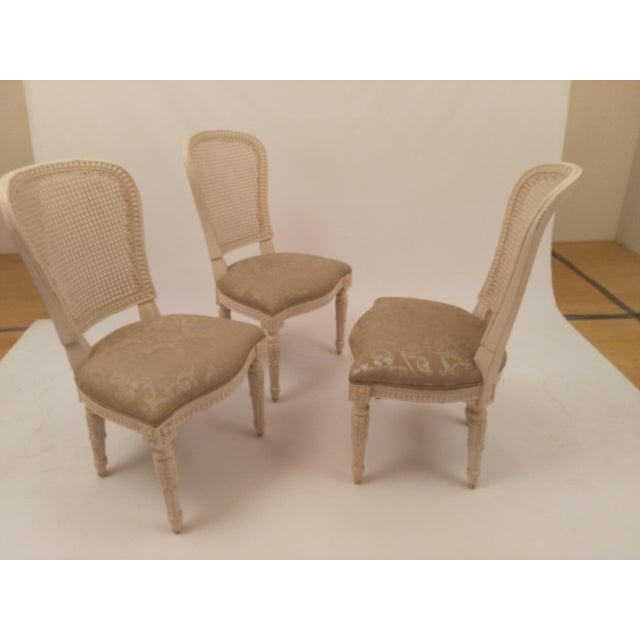 French White French Cane Back Chairs - Set of 3 For Sale - Image 3 of 9
