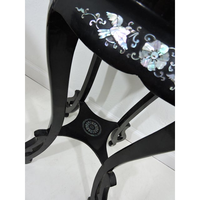 Antique Black Lacquer and Mother of Pearl Inlayed Oriental Side or Accent Tables - a Pair For Sale In Tampa - Image 6 of 7