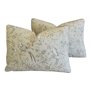 "Scalamandre Aviary & Velvet Feather/Down Pillows 22"" X 16"" - Pair For Sale"