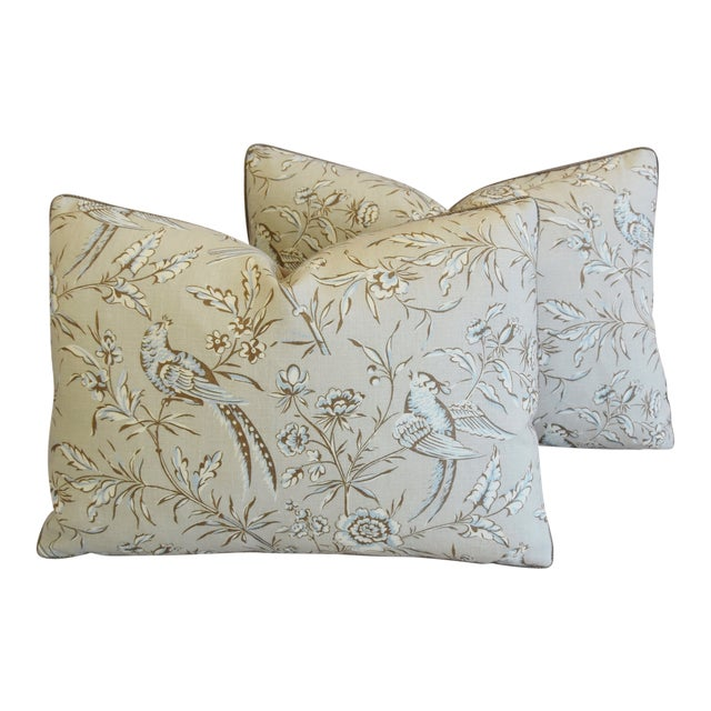 """Scalamandre Aviary & Velvet Feather/Down Pillows 22"""" X 16"""" - Pair For Sale"""