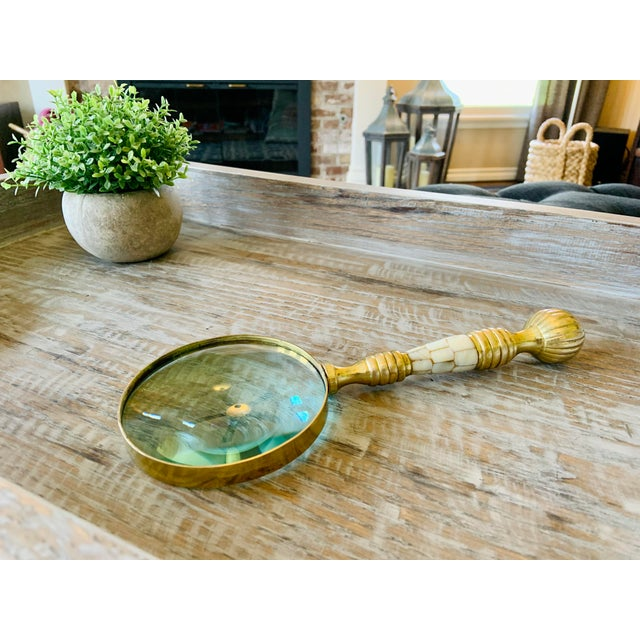 Contemporary Vintage Brass Magnifying Glass With Mother of Pearl Inlay For Sale - Image 3 of 9