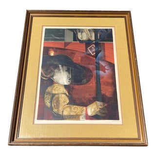 "1960s ""Matador"" Abstract Serigraph Signed Alvar Sunol, Framed For Sale"