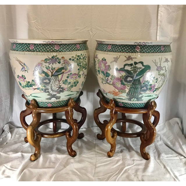 Early 20th Century 20th Century Chinese Qing Famille Verte Porcelain Jardinieres / Planters - a Pair For Sale - Image 5 of 13