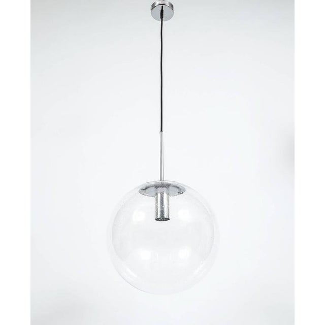 Mid-Century Modern Glashütte Limburg Large Clear Glass Ball Pendant Light Lamps, circa 1960 For Sale - Image 3 of 4
