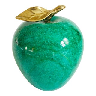 Vintage Stone Apple With Brass Stem For Sale