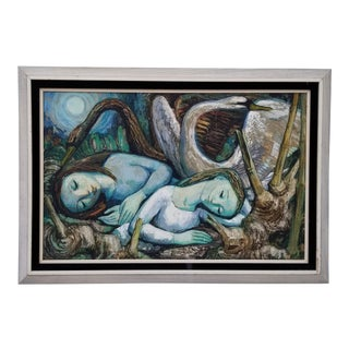 1950s Jose Buigas Two Girls & Two Swans Oil Painting For Sale