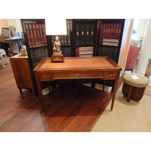 Beautiful French game table/desk that has been carefully restored. Top can be turned over to a felt surface which is worn.