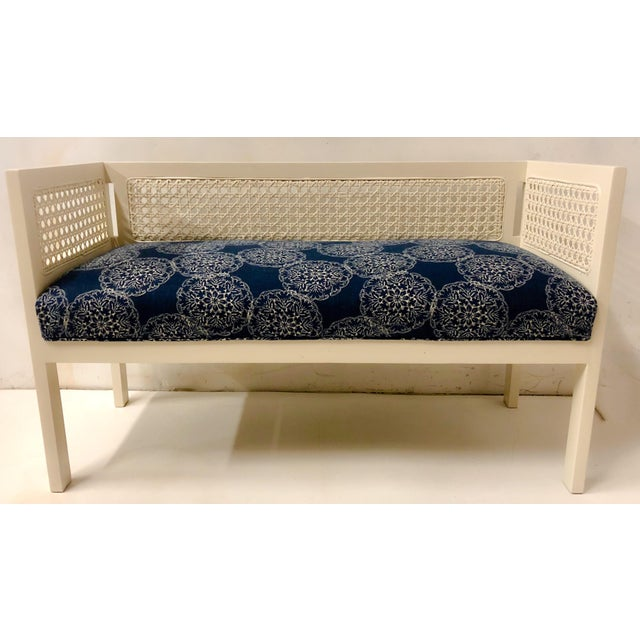 1970s 1970s Caned Bench in Linen For Sale - Image 5 of 8