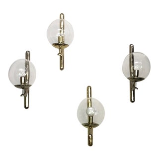 Large Signed Venini Cast Brass Wall Sconces with Glass Ball Shades