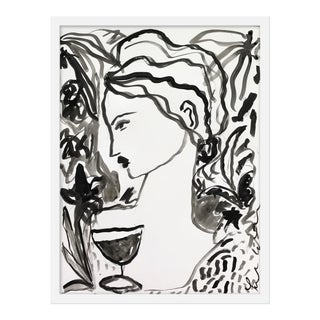 "Medium ""Flowers and Wine in Black"" Print by Leslie Weaver, 19"" X 25"" For Sale"