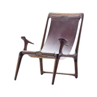 Contemporary Walnut and Brown Leather Sling Chair For Sale