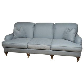 Transitional English Blue Upholstered Sofa For Sale