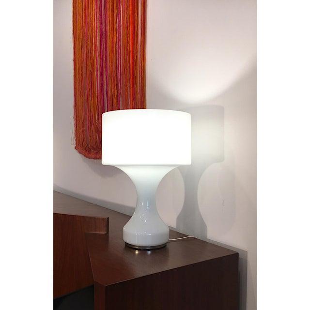 Italian White Opal Crystal Hand Blown Glass Enrico Capuzzo Sebenica Lamp for Vistosi, Circa 1965 For Sale - Image 3 of 6