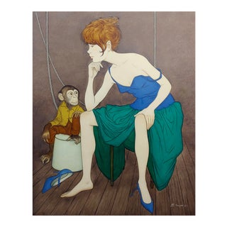 Philippe Noyer - Girl & a Monkey - Oil Painting For Sale