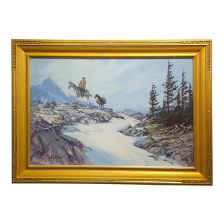 Dan Goozee -Cowboy Rider W/A Packhorse in the Sierra Mountain-Oil Painting For Sale