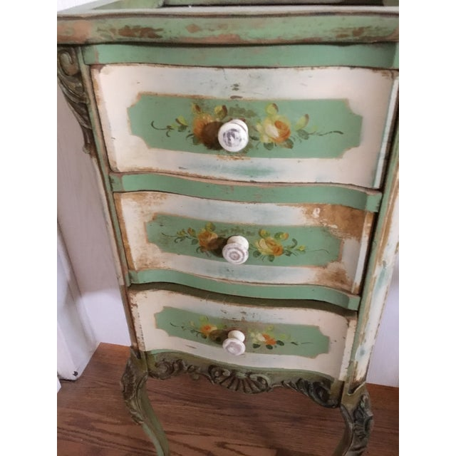This is just a sweet petite piece even perfect for a bathroom too. I have loved this piece but time to still clean house...