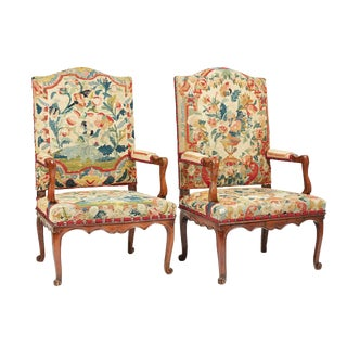 1720s French Regence Large Provincial Armchairs - a Pair For Sale