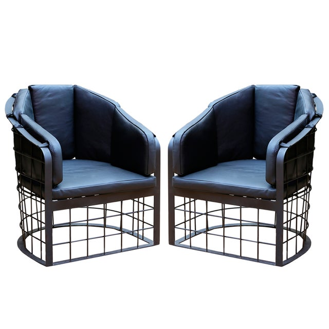 Wrought Iron Grid Lounge Chair - A Pair - Image 1 of 3