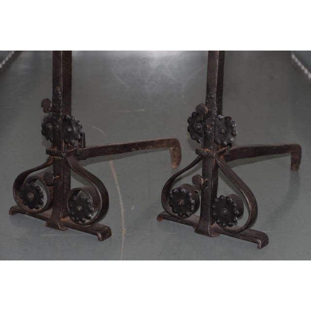 19th Century Hand Forged Wrought Iron Andirons - a Pair For Sale - Image 4 of 7