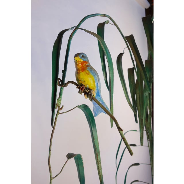Mid-Century Italian Tole Painted Tree with Birds For Sale - Image 4 of 7