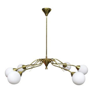1950 Sputnik Atomic Ceiling Light Fixture in the Style of Jean Royere With Opal Globes (Not Wired) For Sale