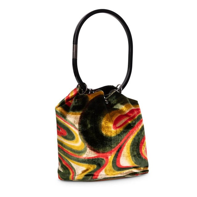 1990s 1990s Gucci by Tom Ford Runway Psychedelic Swirl Silk Velvet Hoop Bucket Bag For Sale - Image 5 of 6