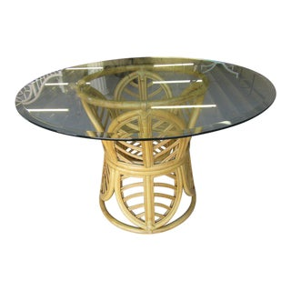 Rattan Leaf Pedestal Table For Sale