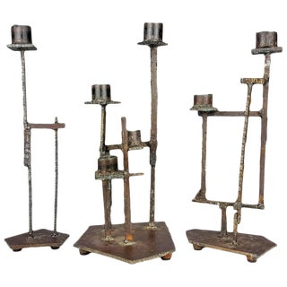 Paul Evans Style Brutalist Candlesticks - Set of 3 For Sale