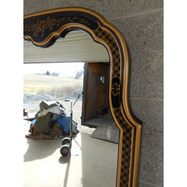 Drexel Et Cetera Black Lacquer Chinoiserie Decorated Console & Mirror For Sale In Philadelphia - Image 6 of 12