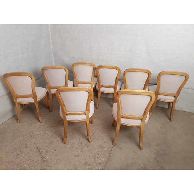Belgian Set of 8 Louis XV French Natural Oak Dining Chairs Upholstered in Belgian Linen For Sale - Image 3 of 13
