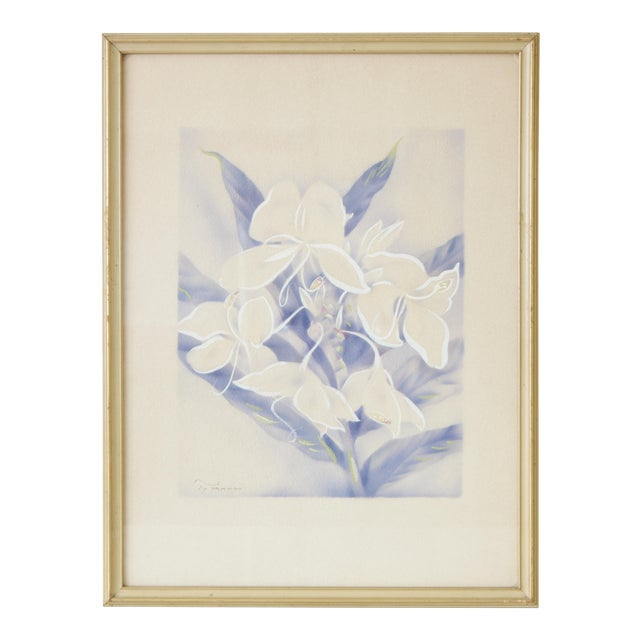 Vintage Framed Airbrush Watercolor Painting For Sale