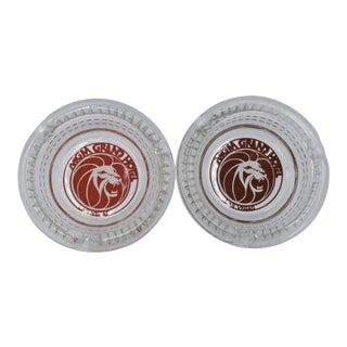 Mgm Grand Hotel Glass Ashtrays - a Pair For Sale