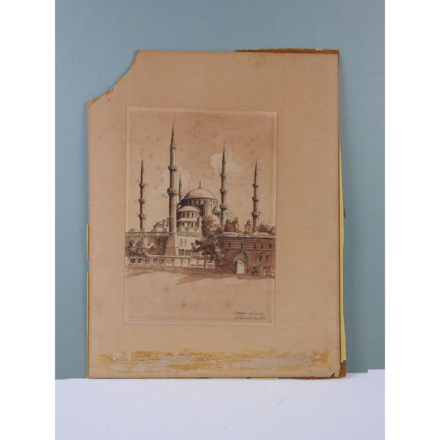 Grand Tour The Blue Mosque, Istanbul Watercolor Painting For Sale - Image 3 of 4