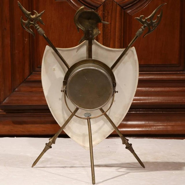 Brass 19th Century French Porcelain & Brass Paris Coat of Arms Desk Clock For Sale - Image 7 of 7