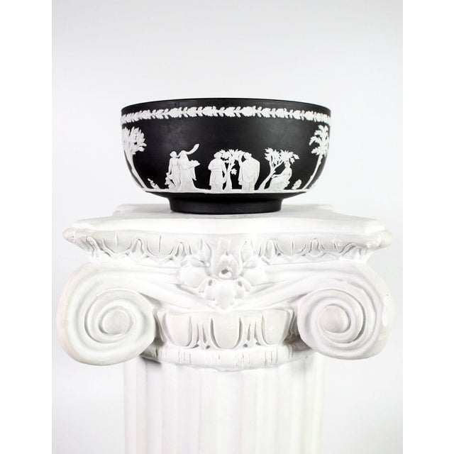 Plaster 1960s White Plaster Romanesque Ionic Scroll Column Display Pedestal For Sale - Image 7 of 8