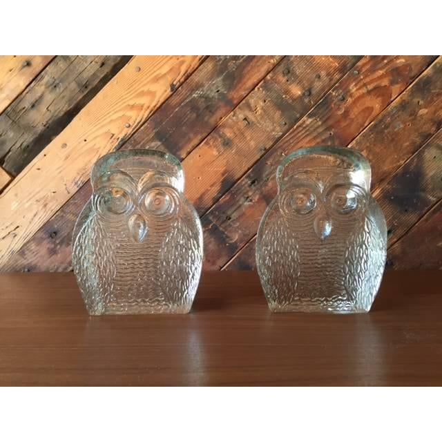 Mid-Century Glass Owl Bookends by Blenko - a Pair - Image 2 of 3