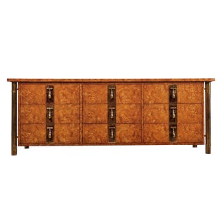 Hollywood Regency Burlwood & Brass Mastercraft Dresser For Sale
