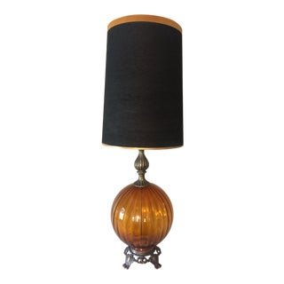 Mid Century Vintage Amber Glass Lamp For Sale