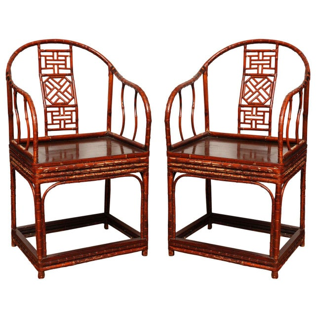 Single 19th Century Chinese Horseshoe-Back Bamboo Armchair with Elm Base For Sale - Image 11 of 12