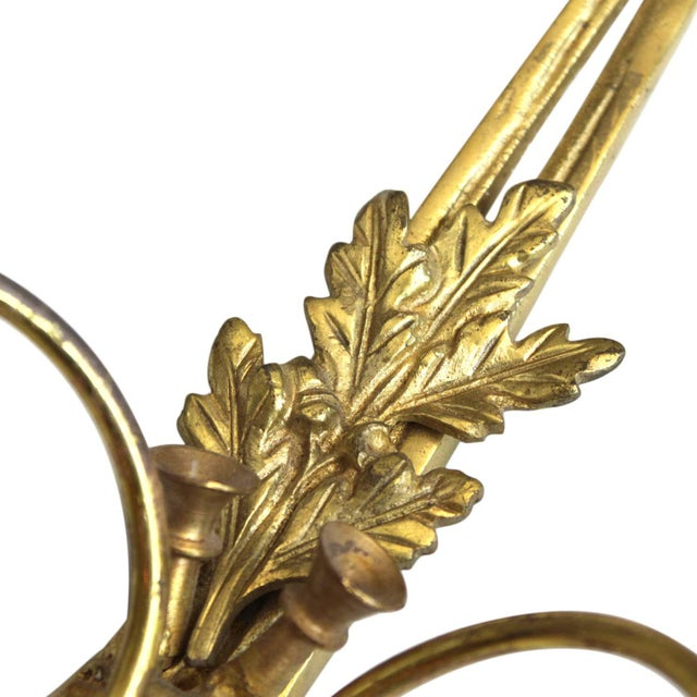 Brass Hunt Horn Sconces - a Pair For Sale - Image 4 of 10
