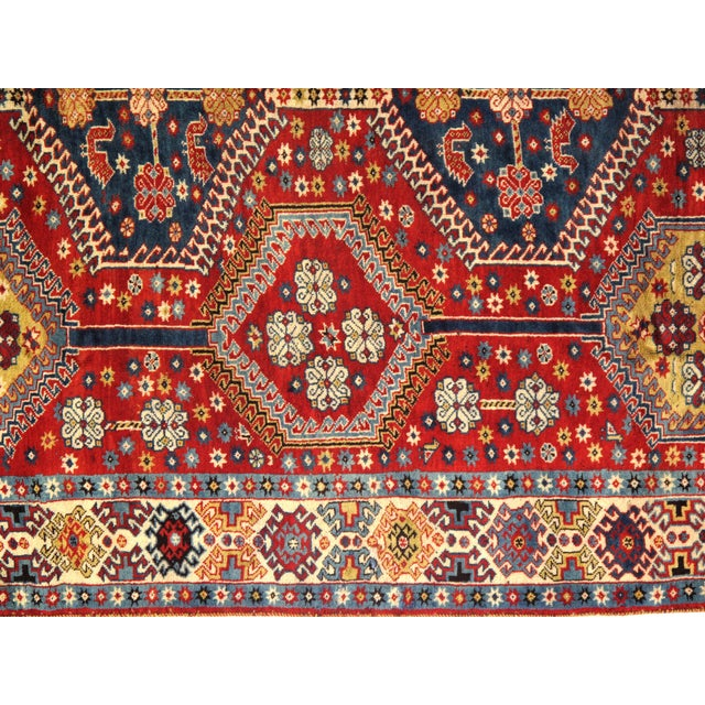 1950's Antique Persian Yalameh Area Rug- 6′6″ × 10′2″ For Sale - Image 4 of 5